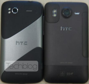 The HTC Pyramid (L) is pictured next to the HTC Desire HD