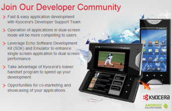 Kyocera is seeking developers interested in writing apps for the dual-screen Kyocera Echo