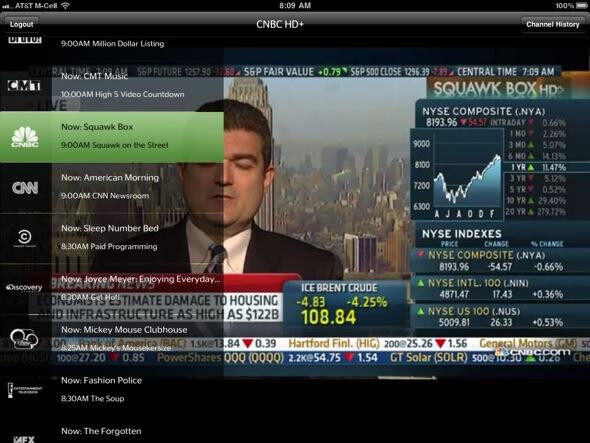 Stock Market channel CNBC is one of the networks available for viewing on your Apple iPad - Time Warner Cable's Apple iPad app becomes the subject of cease and desist orders