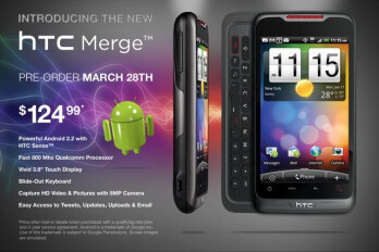 HTC Merge shows up on Alltel's website for $125; pre-orders start on Monday