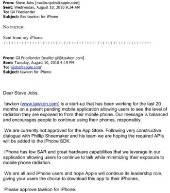 The letter from tawkon's CEO to Steve Jobs