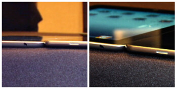 Pictures show that despite  Samsung's boast that its Galaxy Tab (R) is .2mm thinner than the Apple iPad  2 (L), the latter is actually thinner