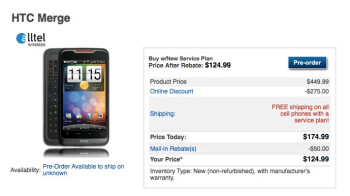 HTC Merge lands on Alltel's web site as a pre-order for $124.99