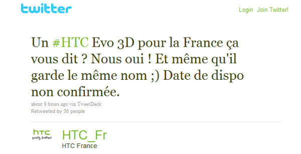 HTC France says the EVO 3D is heading to France with the same name and specs as the Sprint model, coming this summer to the U.S. - HTC EVO 3D is getting a European Vacation