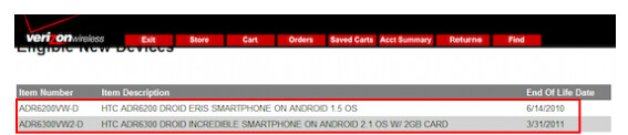 Last year, a leaked Verizon document showed that the HTC Droid Incredible would reach its EOL on March 31st 2011 - HTC Droid Incredible reaches the 'End of Life'; Droid Incredible 2 coming?