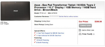 Asus Eee Pad Transformer makes a brief catwalk for $399 on Best Buy and Newegg