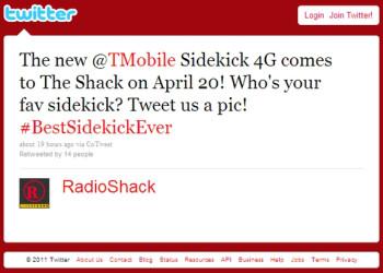 RadioShack tweets April 20 as T-Mobile Sidekick 4G release date