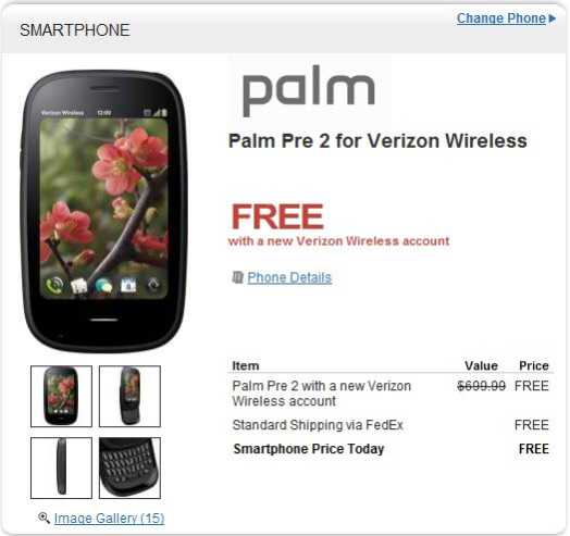 Palm Pre 2 for Verizon is now free on-contract through HP's Wireless Central store
