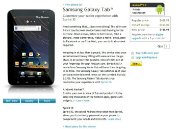 Sprint's Samsung Galaxy Tab finally makes a fitting price drop to $200 on-contract