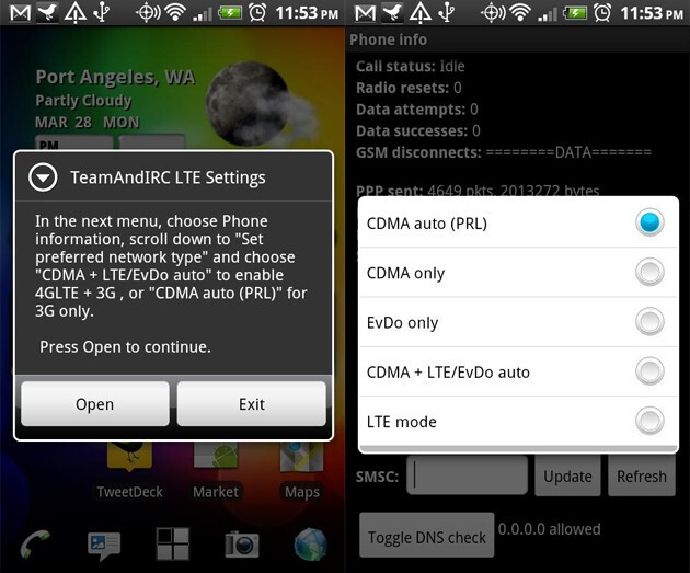 LTE OnOFF allows you to turn the LTE connection for the HTC ThunderBolt on and off to save battery life - App for HTC ThunderBolt turns on and off LTE connection