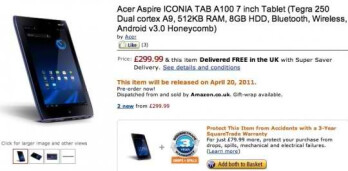 Amazon UK is now accepting pre-orders for the Acer ICONIA TAB A100