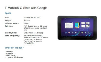 A pair of red & blue 3D glasses will be included with the T-Mobile G-Slate