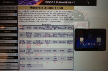 Leaked screen shot indicates that a 16GB version of the Motorola XOOM is on the way