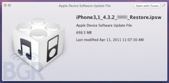 While the link pictured above is for the Apple iPhone, iOS 4.3.2 for the iPad 2 is expected to repair some bugs on the Verizon version of the tablet