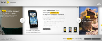Sprint's landing page places attention on the HTC EVO 3D, View 4G, and more