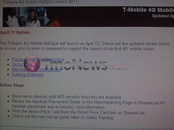 Leak shows that the T-Mobile 4G Mobile Hotspot is planned to launch on April 13th
