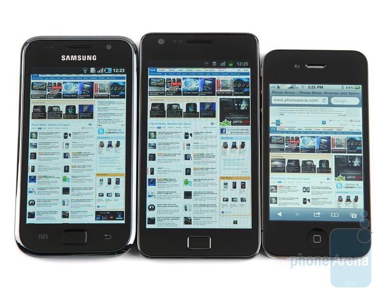 Left to right - Samsung Galaxy S, Samsung Galaxy S II, Apple iPhone 4 - Super AMOLED Plus vs Super AMOLED vs Retina Display