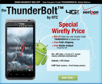 Wirefly puts the HTC ThunderBolt on sale for $150