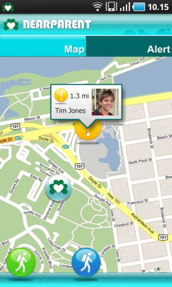 Nearparent for Android is an app to keep track of your kids, without smothering them