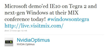 Windows caught running on an NVIDIA Tegra 2 chipset, Intel sighs