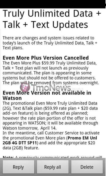 T-Mobile's $59.99 Even More Plus unlimited plan has been canceled