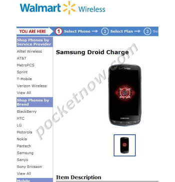 Samsung Droid Charge was briefly spotted on Walmart's website