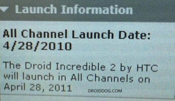 This leaked screenshot of Verizon correspondence suggests an April 28th launch date for the HTC Droid Incredible 2
