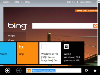 IE9 with the Immersive interface in the touch-optimized Windows 8