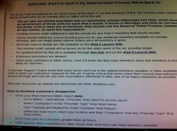 This internal Best Buy memo laid out the   retailer's game plan for the Apple iPad 2 for this week