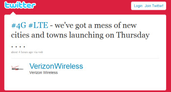Verizon's tweet says it will expand its LTE covergae this Thursday