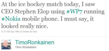 Nokia Windows Phone spotted in Stephen Elop's hands during a hockey game