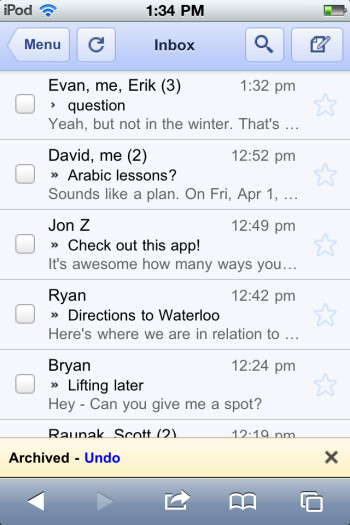 The new update for Google's mobile Gmail app allows the user to undo four actions