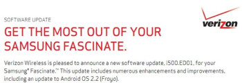 If all goes as planned, Samsung Fascinate owners will finally get the Android 2.2 upgrade on Thursday