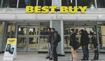 A small crowd waited in front of this Toronto Best Buy to purchase the BlackBerry PlayBook