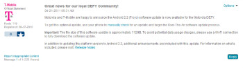 Motorola Defy owners can now upgrade their device to Android 2.2