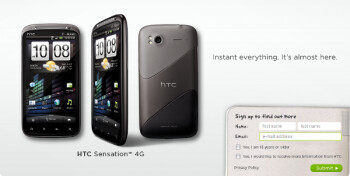 You can now sign up to receive more information on the HTC Sensation 4G directly from HTC; the high-end phone is expected to launch by T-Mobile in the U.S. on June 8th