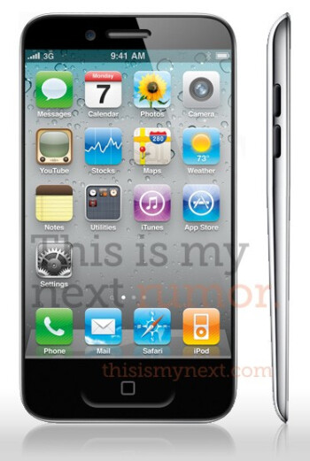 This is a drawing of what the Apple iPhone 5 is rumored to look like according to Joshua Topolsky's sources