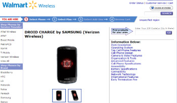 Save $50 over Verizon's launch price by pre-ordering the Samsung DROID Charge from Walmart's Let's Talk for $249