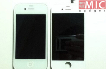 The yet-unofficial white iPhone 4 (left) next to alleged iPhone 5 faceplate