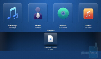 The music player of the PlayBook is functional