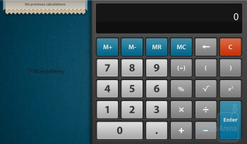 The Calculator app of the RIM BlackBerry PlayBook has a rich functionality