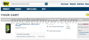 Verizon's HTC Trophy was briefly spotted up on Best Buy's web site