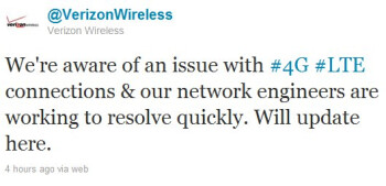 Verizon's LTE network is suffering through outages nationwide
