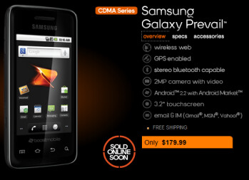 The Samsung Galaxy Prevail is expected to launch from Boost Mobile on April 29th