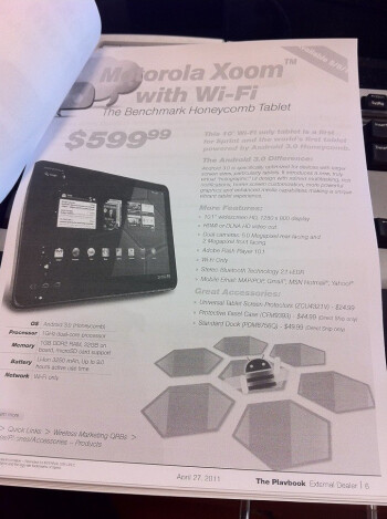 This newsletter for Sprint dealers tells us to expect the carrier to launch the Motorola Xoom on May 8th