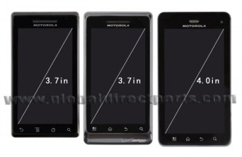 The Motorola DROID 3 appears to have a slightly increased 4 inch screen, up from the 3.7 inch display from the first two DROID models