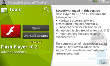 Adobe's latest upgrade to Flash Player 10.2 brings an enhancement for HD video on Honeycomb tablets once they install Android 3.1