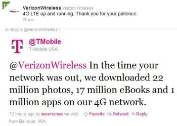T-Mobiles tweet points out some of the things that took place on it's 4G network while Verizon's LTE service was down
