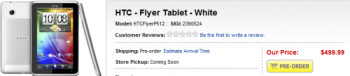 You can now pre-order the HTC Flyer Android tablet  from Best Buy