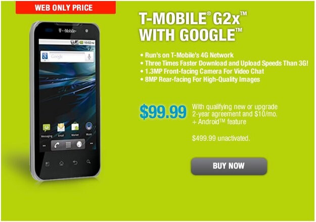 T-Mobile G2x is slashed in price to $99.99 today only through RadioShack's web site